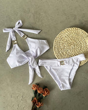Halter Tied Casual Bikini Set