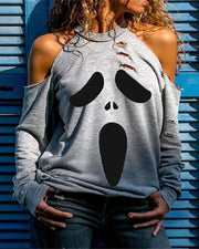 Halloween Cold Shoulder Ghost Print Cutout Top
