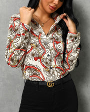 Mixed Print Long Sleeve Blouse