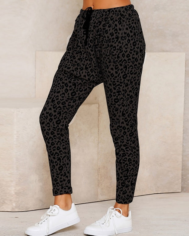 Leopard Print Pocket Design Casual Pants