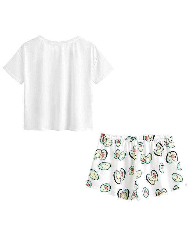 Avocado Print Short Sleeve Pajamas Set