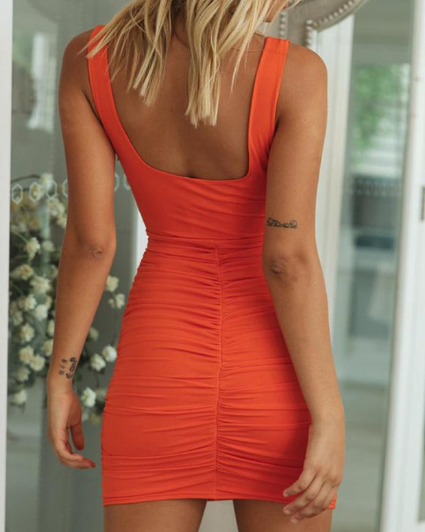 Square Neck Ruched Bodycon Dress