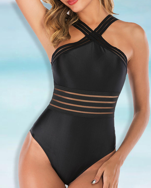 Solid Bandage One Piece Swimsuit
