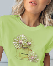 Print Studded Beaded Casual T-shirt