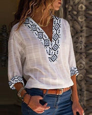 Exotic Print Insert V-Neck Casual Blouse