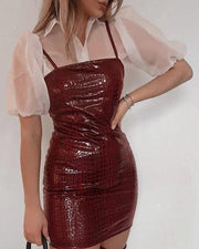 Croc Embossed Bodycon Mini Dress