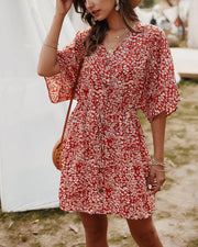 Floral Print Button Front Dress