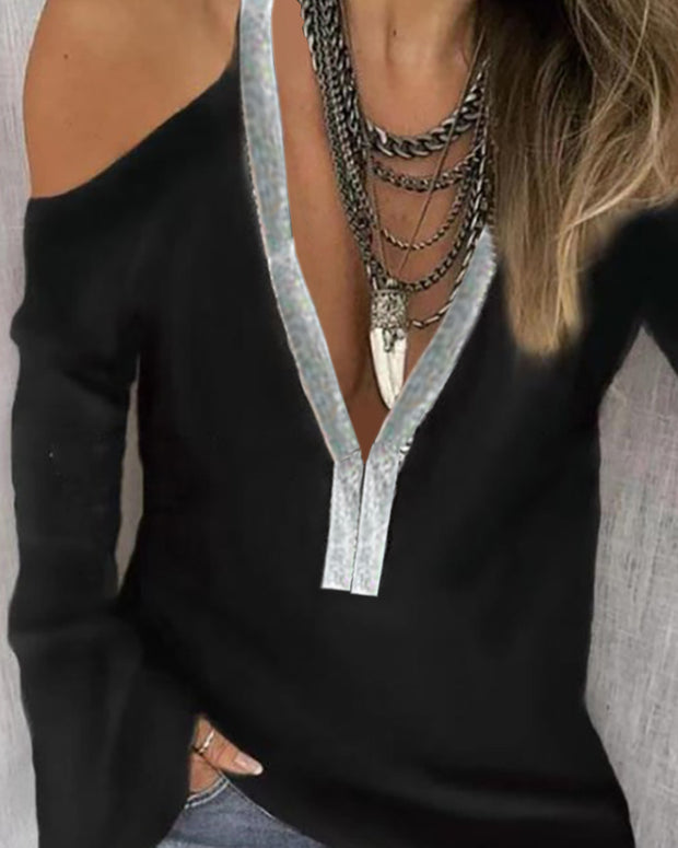 Cold Shoulder Sequins Patch Long Sleeve Blouse