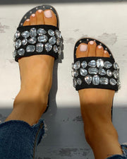 Open Toe Studded Design Flat Sandals