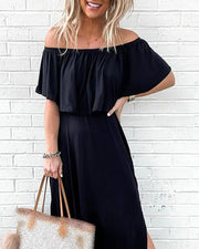 Solid Off Shoulder Ruffles Silit Casual Dress