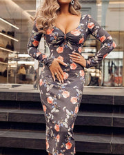 Floral Print Ruched Long Sleeve Bodycon Dress