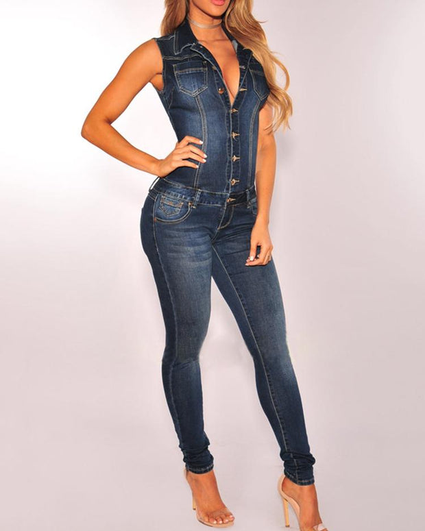 Buttoned Pocket Design Sleeveless Denim Jumpsuit