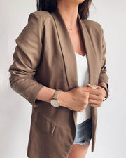 Solid Notched Neck Pocket Detail Blazer