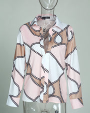 Scarf Print Long Sleeve Casual Shirt