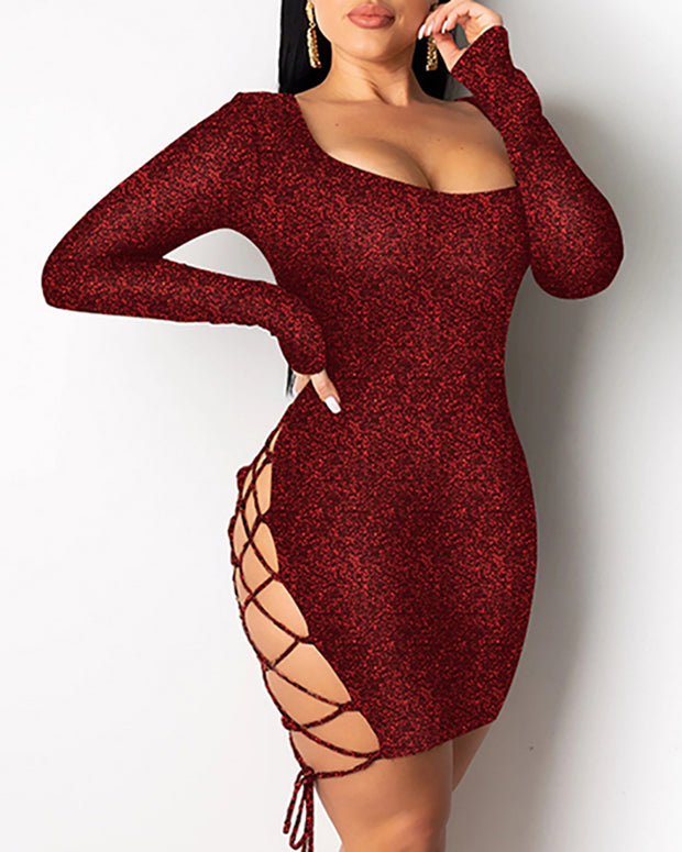 Glittr Backless Lace-Up Seequins Bodycon Dress