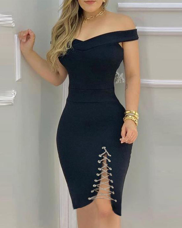Eyelet Lace-up Off Shoulder Bodycon Dress