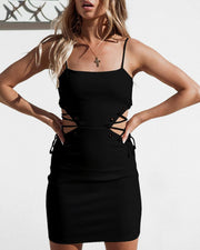 Solid Spaghetti Strap Lace-up Cut Out Waist Bodycon Dress