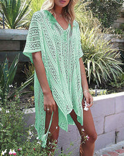 Hollow Out Knitted Tassel Cover Up