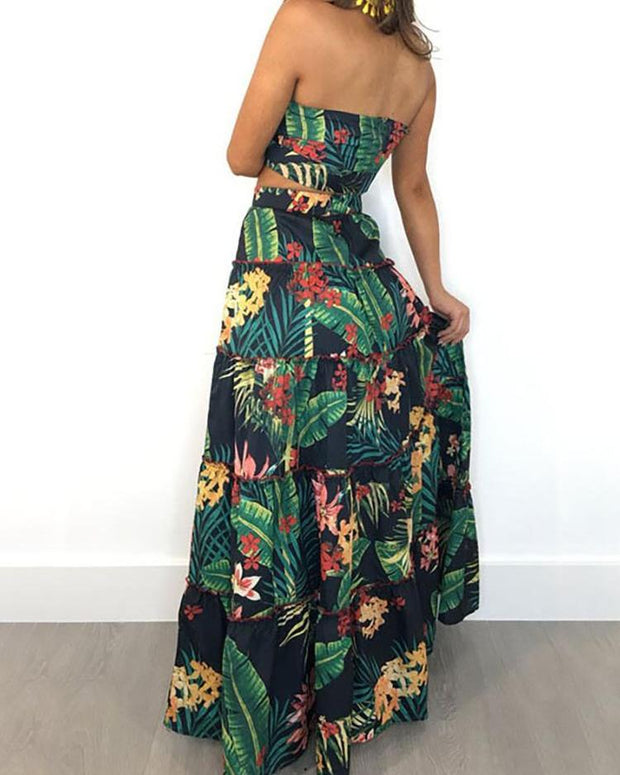 Tropical Print Crop Top & Maxi Skirt Set