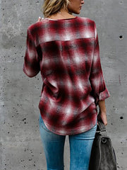 Trendy Tartan Lace-up Casual Blouse