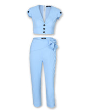 Solid Plunge Buttoned Top & Pants Set