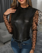 Sheer Mesh Dot Puffed Sleeve Snakeskin Blouse