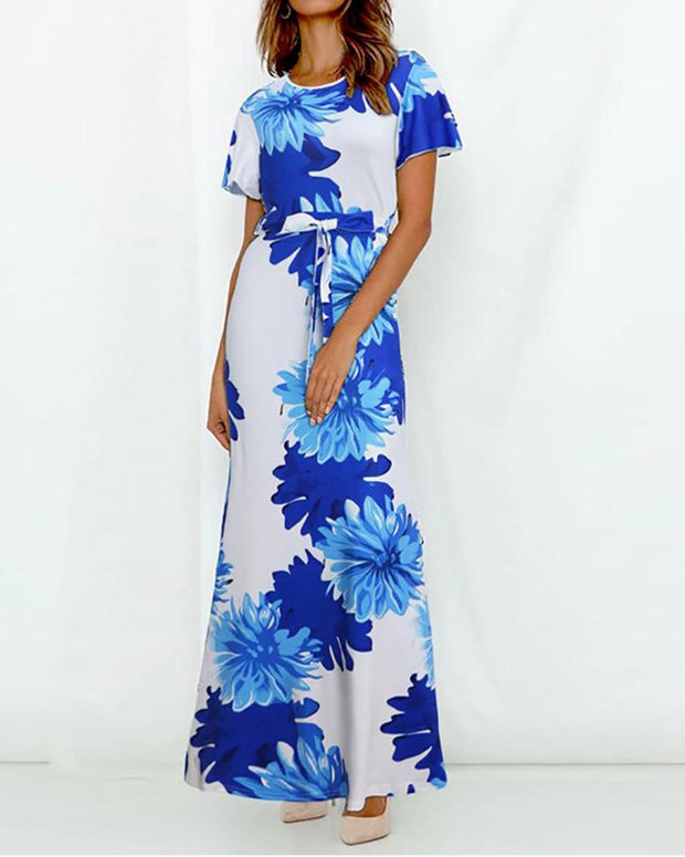Round Neck Floral Tie Front Dress