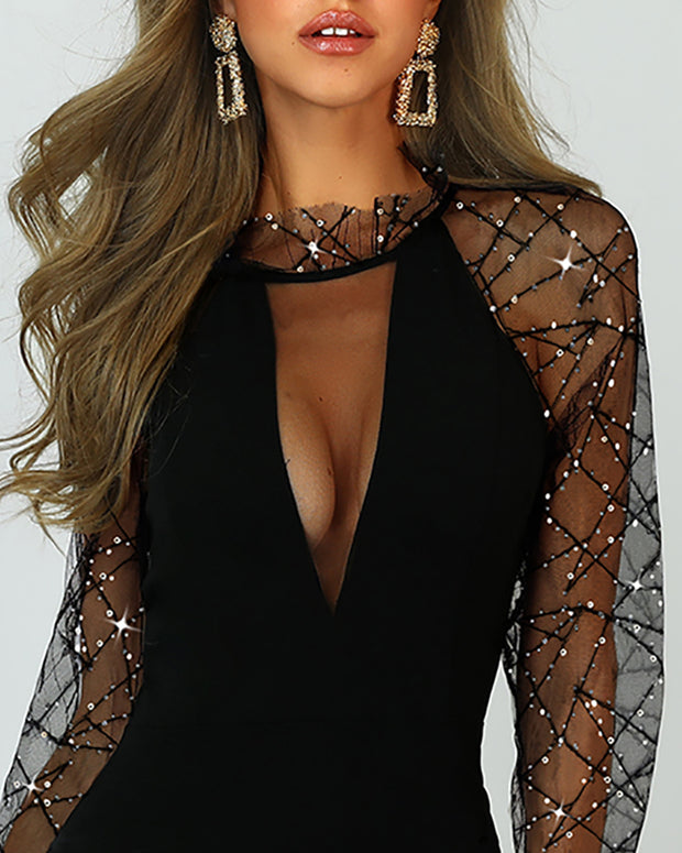 Sheer Mesh Sequin Detail Party Dress