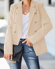 Double Breasted Plain Casual Blazer Coat