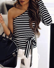 One Shoulder Colorblock Striped Long Sleeve Blouse