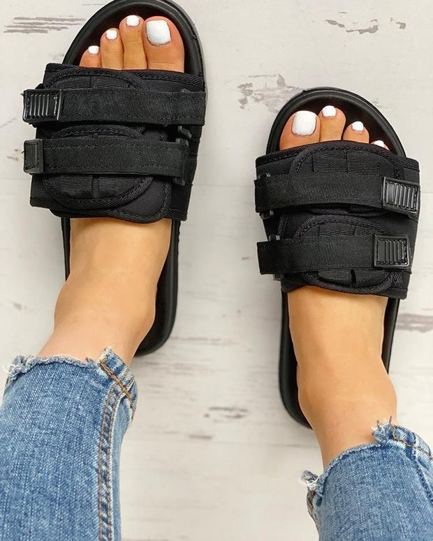 Velcro Design Open Toe Flat Sandals