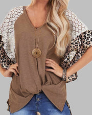 V-neck Leopard Print Crochet Lace Twisted T-shirt