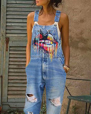 Thin Strap Lip Print Ripped Suspender Jeans