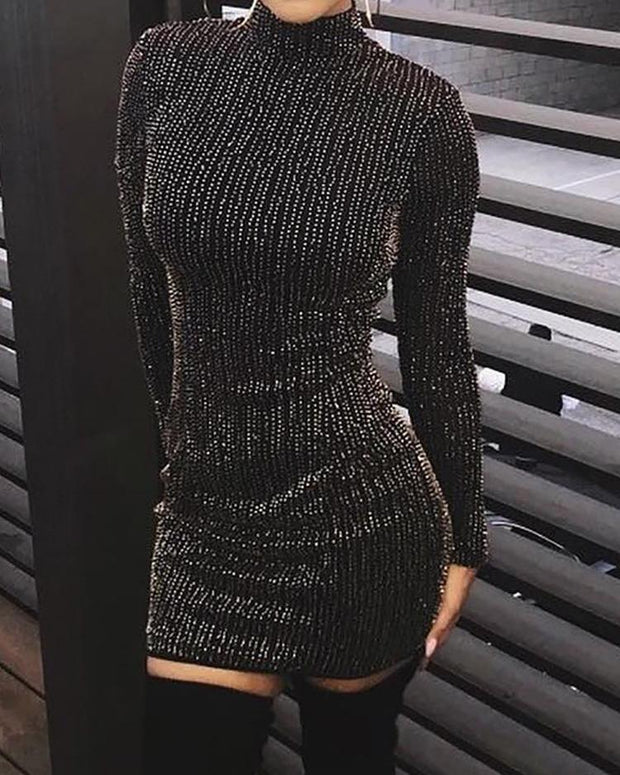 Glitter Stripes Long Sleeve Party Dress