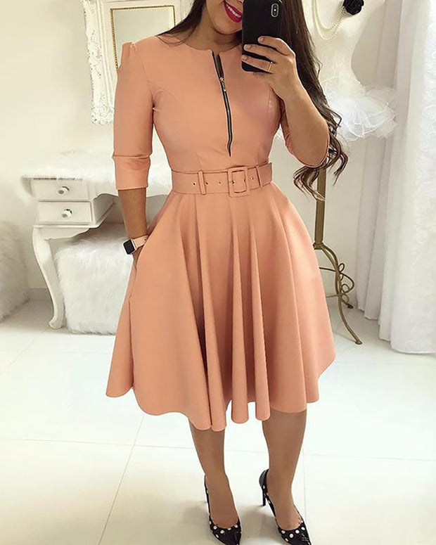 Solid Zipper Up Belted Pleated Casual Dress