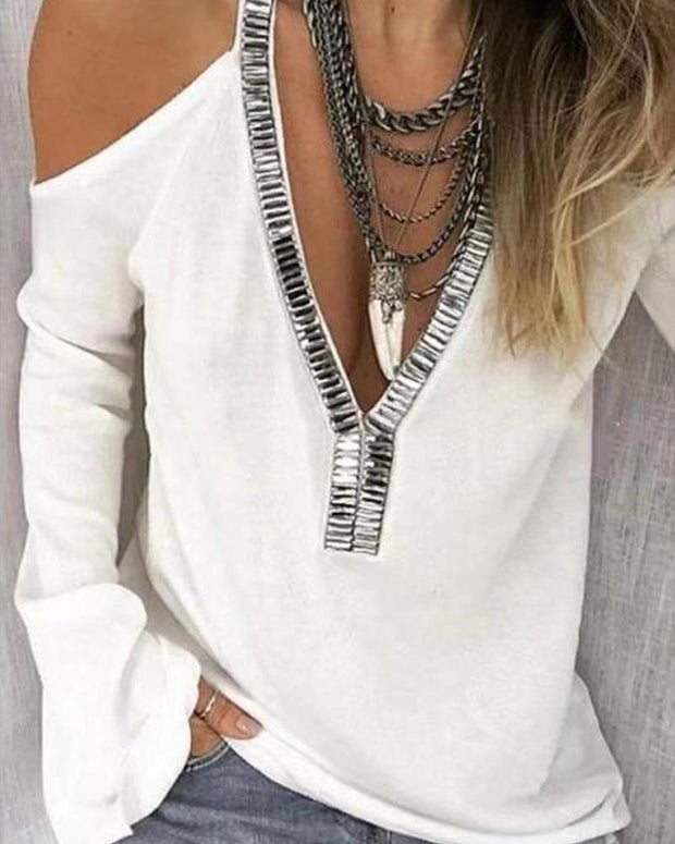 Solid Embellished Cold Shoulder Top