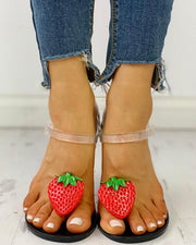 Transparent  Strap Strawberry Pattern Sandals