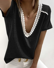 V-neck Crochet Lace Casual T-shirt