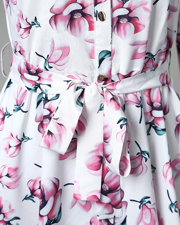 Floral Print Knotted Design Pleated Dress