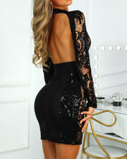 Sequins Insert Open Back Bodycon Dress