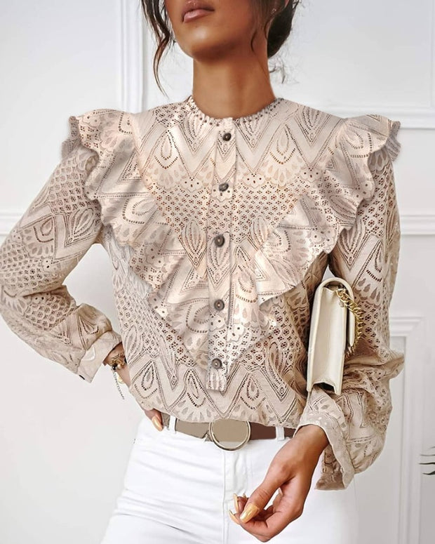 Lace Ruffles Hollow Out Casual Top