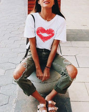 Casual Print Love Lip Tee