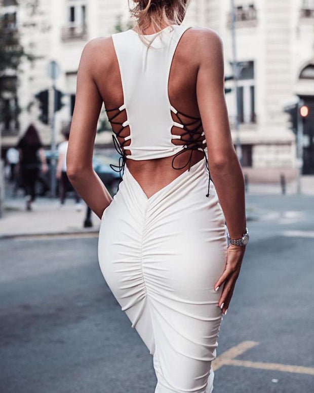 Solid  Lace Up Detail Bodycon Dress