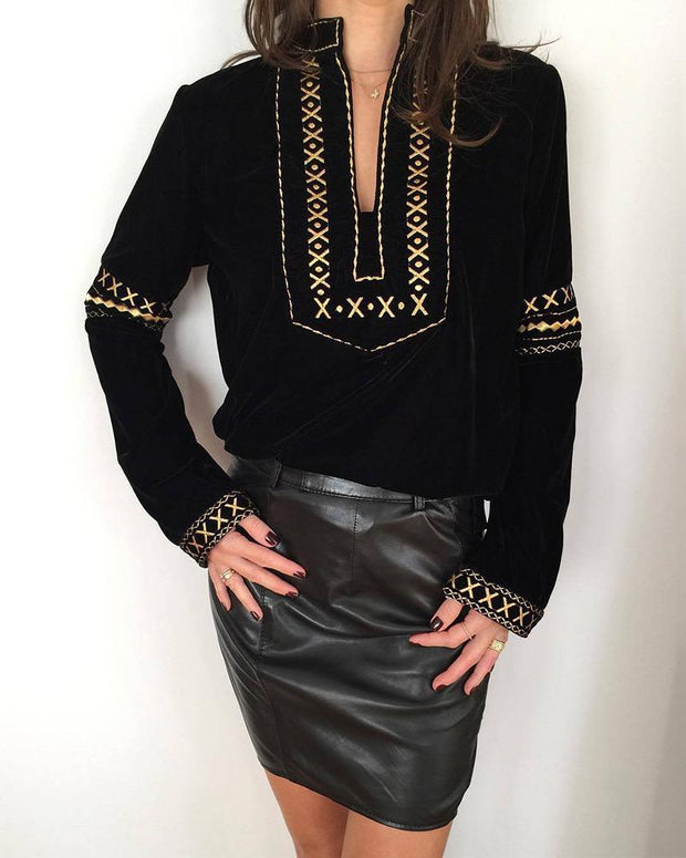 Ethnic Style Long Sleeve V-neck Top