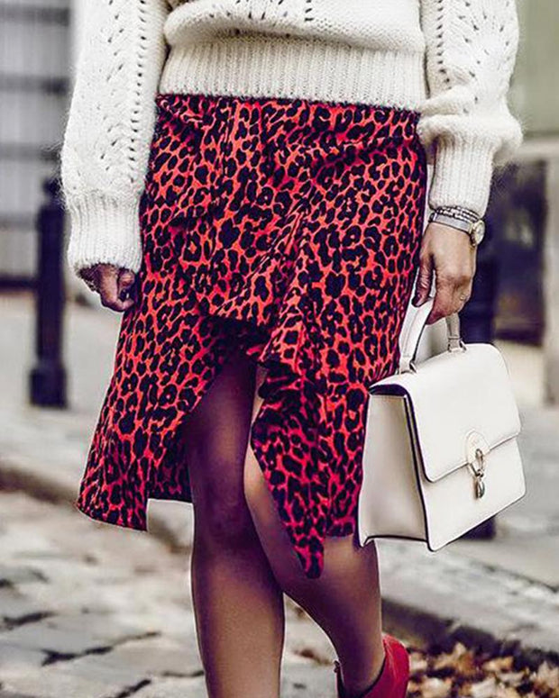 Leopard High Waist Midi Skirt