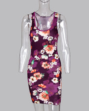 U-Neck Sleeveless Floral Dress