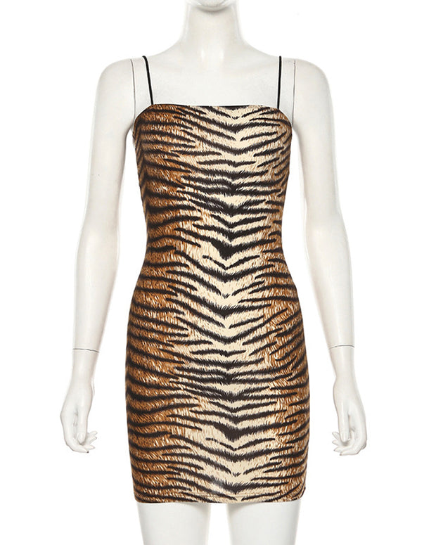 Leopard Print Minimal Shoulder Straps Dress