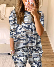 Camouflage Print Top & Drawstring Pants Set
