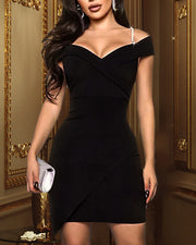 Glitter Hot Stamping Spaghetti Strap Bodycon Dress
