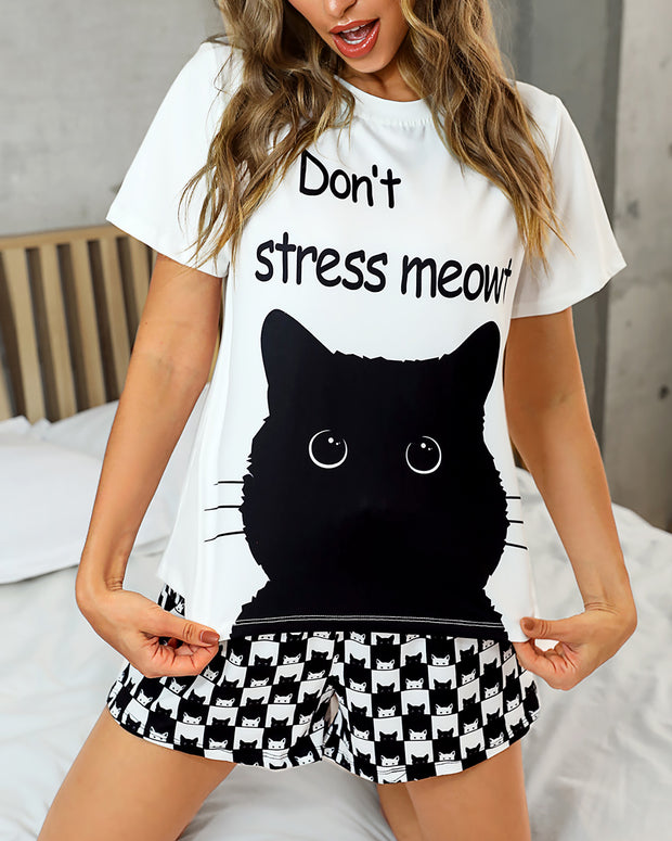 Cat Print Short Sleeve Pajamas Set